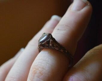 Rustic Garnet Copper Ring // Size 4 // Alternative Engagement