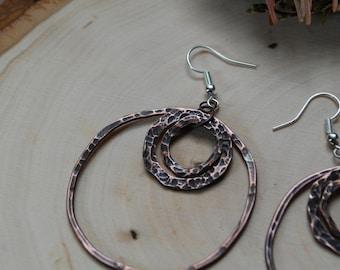 Layered Hoop Copper Earrings