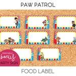 Paw Patrol / Food Label, Dessert Table Label - PRINTABLE