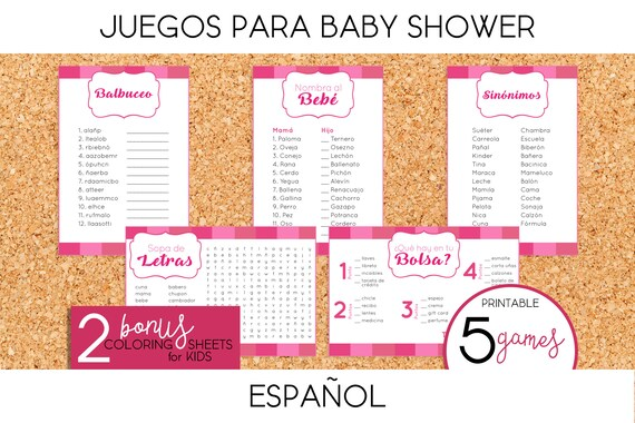 Juegos Para Baby Shower De Nina Printable Spanish Etsy
