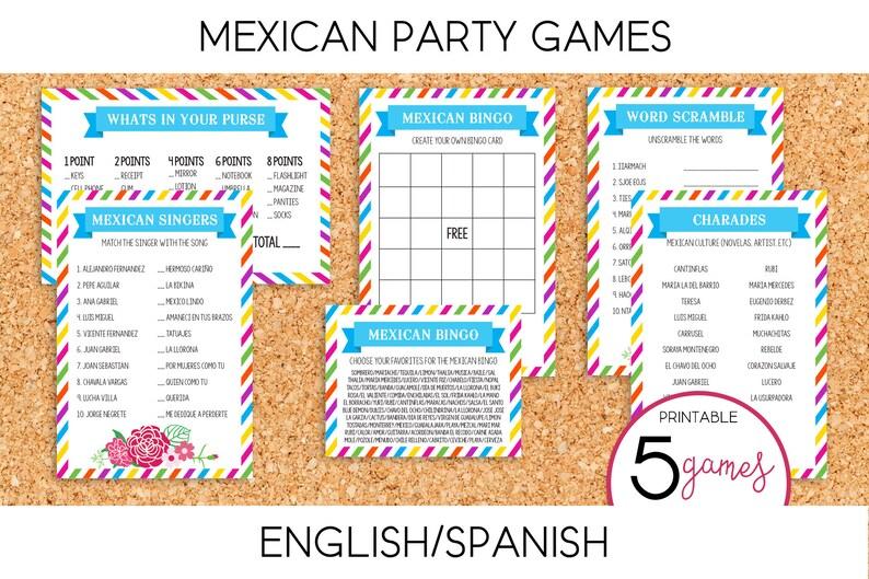 Cinco de Mayo / Mexican Party Games PRINTABLE English & | Etsy
