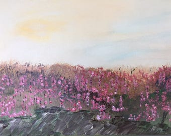 """Pink Flower Field - wall décor acrylic painting, 11""""x14"""" canvas stretched/wrapped on 5/8"""" bars"""