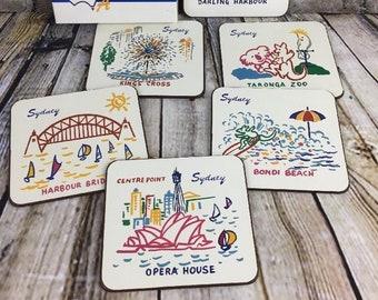 6 Coasters Vintage Australian Sydney Australia Opera House Taronga Zoo Bondi King Cross