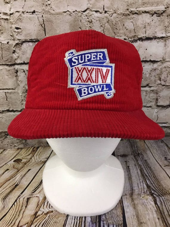 Vintage Red Snap Back Cord Hat Cap 90s Super Bowl XXIV NFL New  2082aa7d3