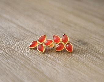 Earrings Designer Flower MEDA Gold Drops Agathe Onyx Red Orange Faceted Gift Christmas Woman Birthday Chic Artisanal AJMAAR