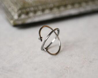 Oxydé Black Silver Creator Ring ZUQAQIP Cross X Finish Pics Ring Made Main Rock Woman Adjustable Black Edition Christmas Birthday Gift