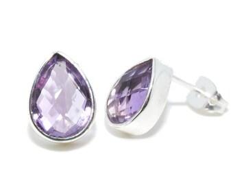 Purple amethyst gemstone earrings drop Silver earrings SHAMI