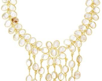 Plastron Gold NABONASSAR Cascade Multirangs Cabochons Quartz Rutile Golden Women's Wedding Necklace Married Handmade Luxury Christmas Gift