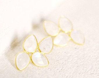 Earrings Flower PINDARE Gold Drops Moonstone Rainbow Faceted Handmade Gift Chic Elegant Birthday Wedding Christmas