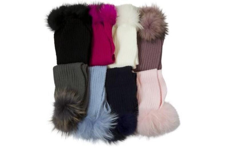 67622cb866d Child  Ribbed wool fur pom pom scarf 7 Colors