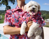 Pink Matching Dog Fashion Unisex BBQ Tee Shirt T-Shirt Women's Men's Hawaiian Summer Button Down Designer Apparel Top T-Shirt Pablo & Co