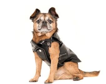 Leather Dog Jacket Faux Biker Puppy Larger Dog Coat Vintage Harley Davidson Size XXS to 2XL