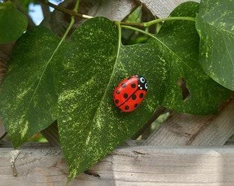 Ladybug Hand Painted Pebble Art Keepsake Pet Rock Tiny Stone