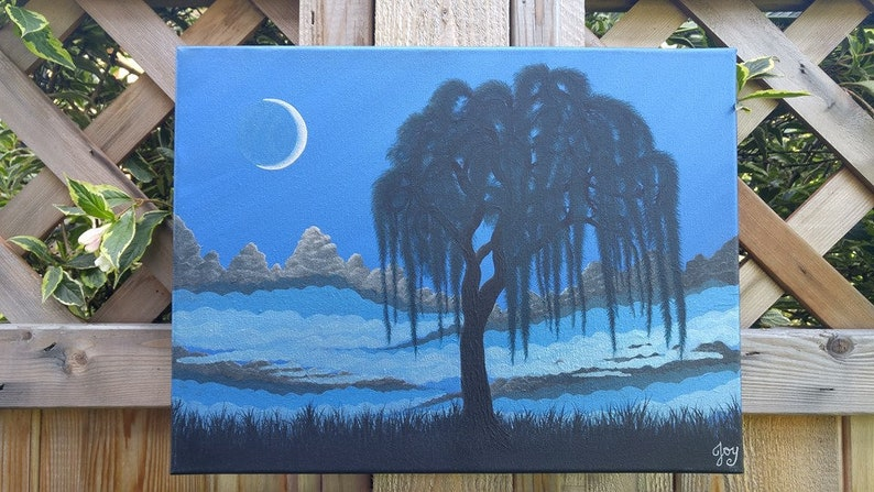 "Landscape Art Oil Painting Print On Canvas Home Decor/""Crescent Moon/""Framed"