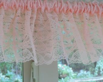 Peach window valance,  Peach window treatment,  Peach curtain