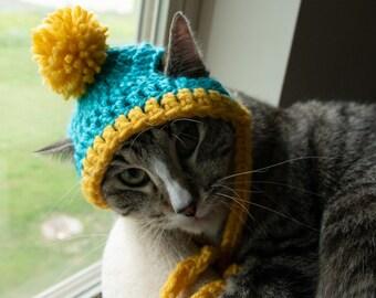 FREE SHIP  Winter Beanie hat custom colors pompom pom pom Furbaby Cat/small Dog pet costume, pet play, adorable pet hats. cat hat . *
