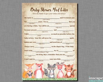 Woodland Mad Libs Game Printable Woodland Animals Baby Shower Madlibs Game Rustic Country Boy Girl Gender Neutral Forest Unique Cute Madlibs