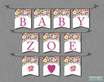 Floral Baby Shower Banner Printable, ALL Letters & Numbers, Chair Banner, Flowers Shabby Chic Country Customizable Baby Shower Decoration