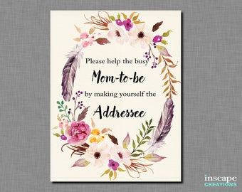 Boho Baby Shower Write Your Address on an Envelope Sign, Bohemian 'Please help the Mom-to-be by making yourself the Addressee' Rustic Sign
