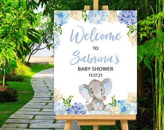 Blue Elephant Baby Shower Welcome Sign - Custom Boy Baby Shower Welcome Poster - Blue Baby Elephant Baby Shower Decor - DIGITAL FILES ONLY
