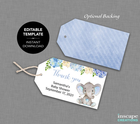 EDITABLE Baby Shower Favor Tags TEMPLATE Thank