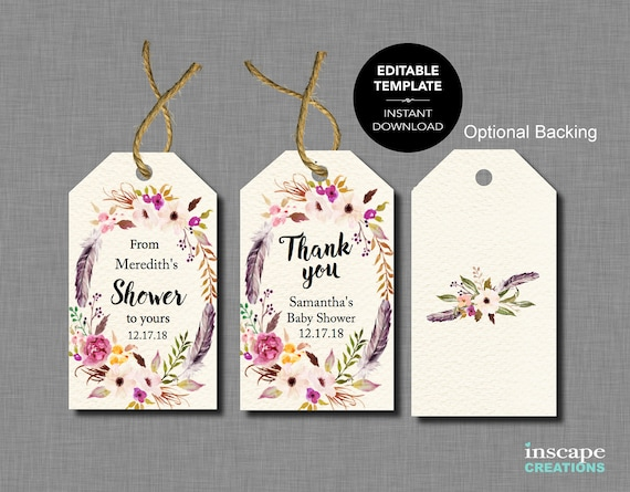 Boho EDITABLE Baby Shower Favor Tags TEMPLATE From