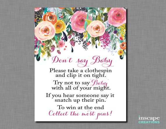 Dont Say Baby Game Printable Dont Say Baby Sign Don T Say Baby