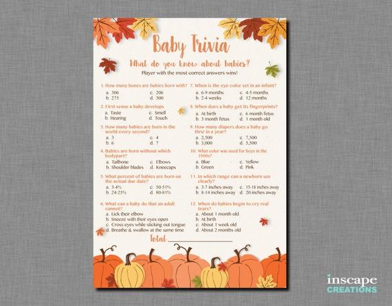 Baby Trivia Game Printable Pumpkin Baby Shower Baby Trivia Etsy