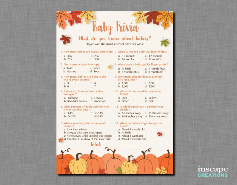 picture about Autumn Trivia for Seniors Printable referred to as Youngster Trivia Sport Printable, Pumpkin Child Shower Little one Trivia Video game, Tumble Little one Trivia, Rustic Little one Shower Match, Very little Pumpkin Youngster, Autumn