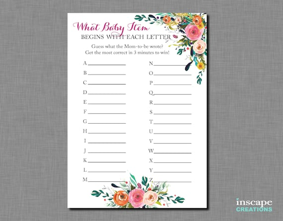 what baby items begin with this letter baby shower game. Black Bedroom Furniture Sets. Home Design Ideas