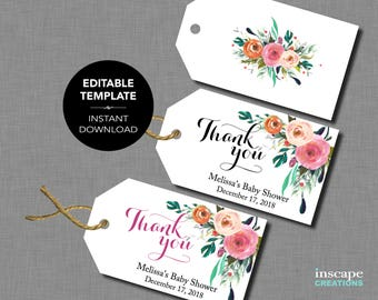 EDITABLE Baby Shower Favor Tags - EDITABLE TEMPLATE - Thank You Favor Tags, Floral Rustic Elegant Flowers Country Editable Baby Shower Tags