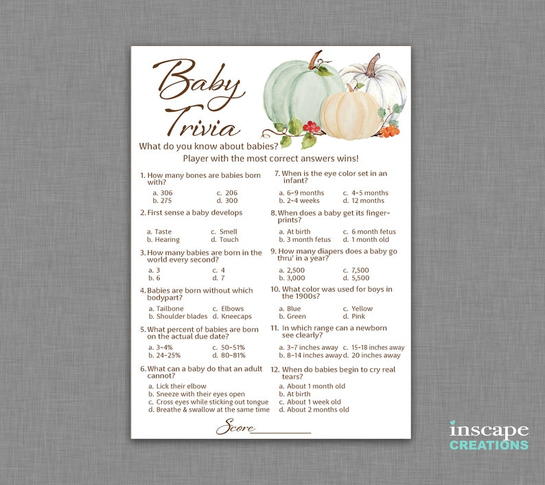 photograph regarding Autumn Trivia for Seniors Printable identified as Youngster Trivia Match Printable, White Pumpkin Boy or girl Shower Youngster Trivia Video game, Slide Kid Trivia, Kid Shower Sport, Small Pumpkin Child, Autumn