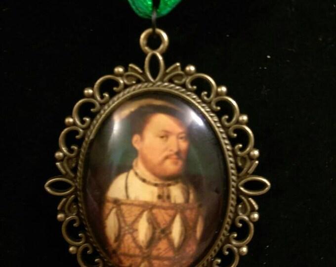 King Henry VIII Organza Ribbon Cameo Pendant Choker Necklace