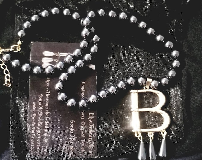 "Free Bonus Necklace With Purchase* Hematite Bead Gold Plated ""B"" Anne Boleyn Pearl Choker Necklace"