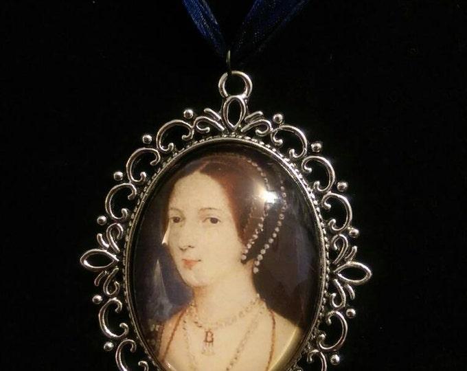 John Hoskins Miniature of Anne Boleyn Organza Ribbon Cameo Pendant Choker Necklace