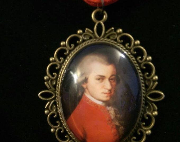 Mozart Organza Ribbon Cameo Pendant Choker Necklace