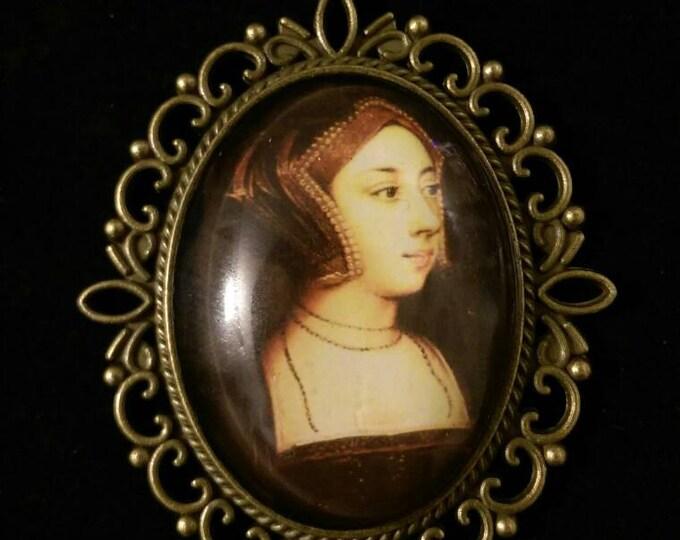 Hever Castle Portrait of Anne Boleyn Organza Ribbon Cameo Pendant Choker Necklace