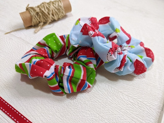 2 Handmade Christmas Scrunchies - gift for girls (big or little!)