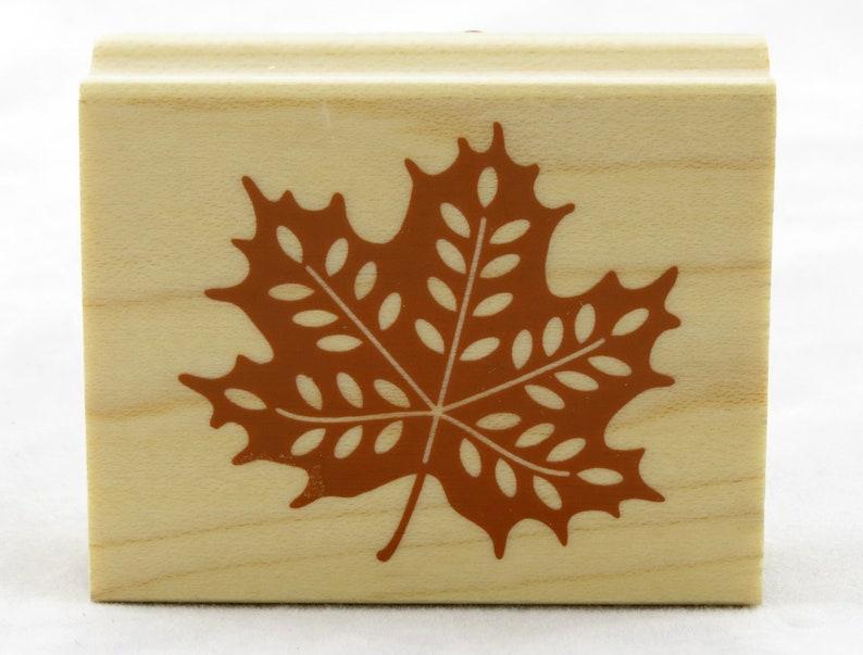 Maple Leaf Wood Mounted Rubber Stamp Inkadinkado fall autumn harvest thanksgiving craft decor scrapbook