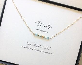 Birthstone Morse Code Necklace Name Garnet Amethyst Aquamarine Diamond Quartz Emerald Moonstone Ruby Peridot Sapphire Opal Citrine Topaz