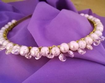 Pearl and White Quartz Bridal Headband.
