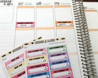 Custom Bill Due Stickers | Erin Condren, Happy Planner, Hobonichi Cousin, etc.