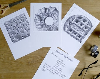 Postcards biscuits, postcards cookies, postcards in black and white, food postcards, kitchen postcards