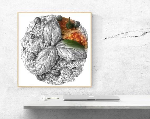 Poster auf Leinwand weiß-schwarz, Design Frisella, Küche und Esszimmer