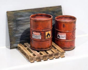 1:12 scale Diorama Accessories Pack - Barrels, Pallet and Rusted Metal Look Sheet