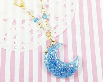 Celestial Blue Moon Necklace   Fairy Kei Necklace   Lolita Unicorn Necklace    Mahou Kei Moon   Kawaii Necklace   Cosmic Moon  