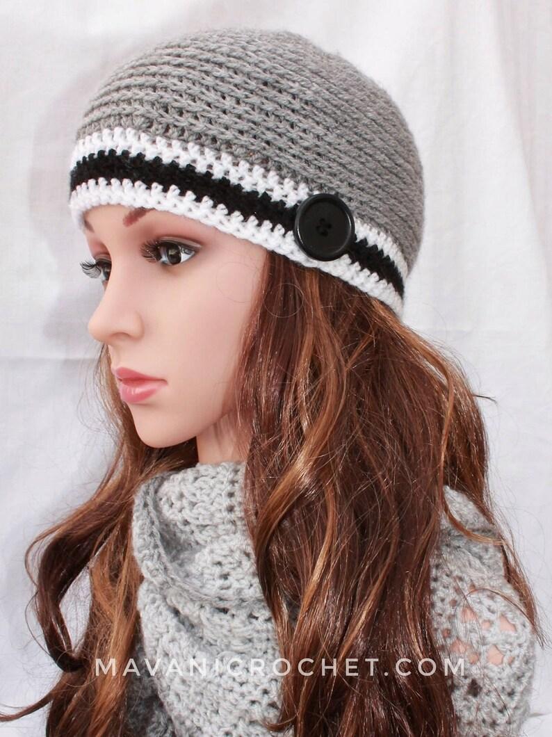 Gorro invierno tejido crochet gris botón gorro lana gris  855383b72d02