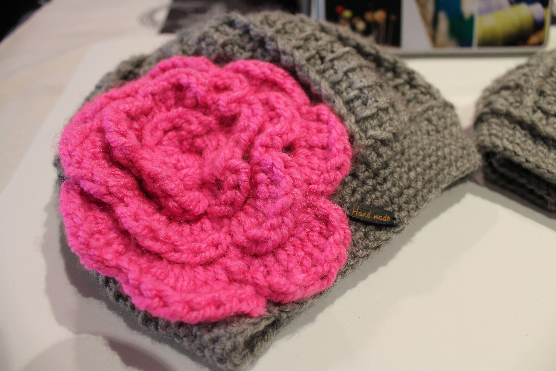 Mütze Winter gewebte grau häkeln und Blume rosa Hut Frau Rosa | Etsy