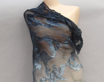Navy Ombre Silk Satin Burnout Fabric Sheer Blues to Ivory Vintage