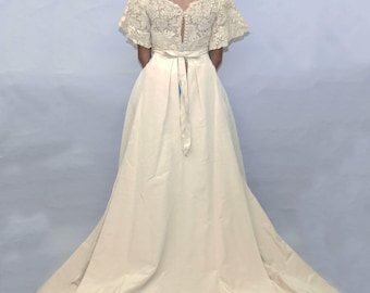 Vintage Silk 1960's A-line Wedding Dress Alecon Lace Top with bell sleeves and cathedral train